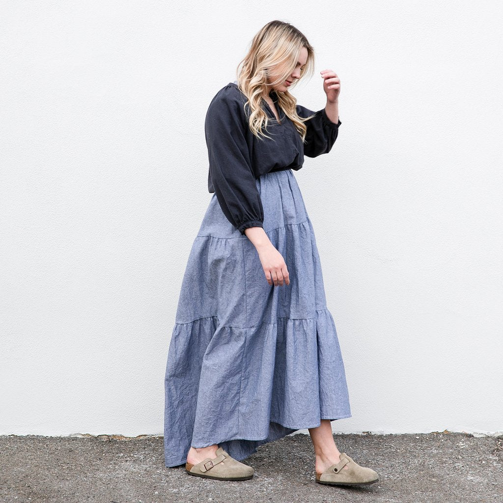 Maternity clothing style for pregnant neve and hawk cecilia dress chambray blue denim
