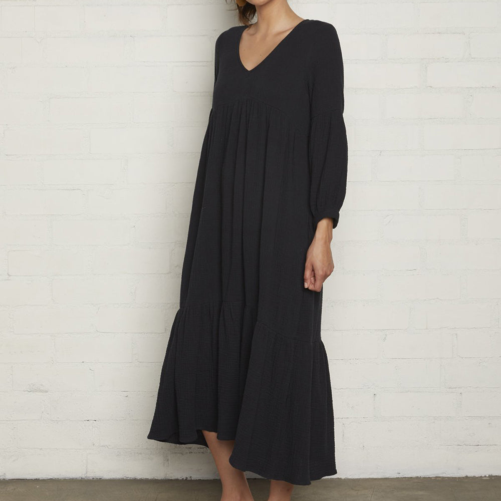 rachel pally maternity dress cecilia black cotton gauze