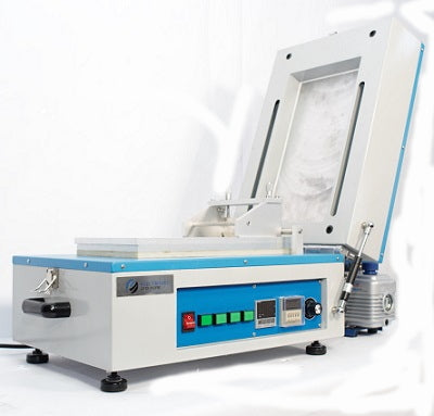 Compact electrode film coating machine with vacuum and heater
