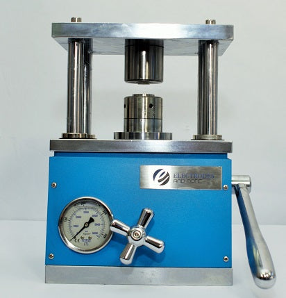 Hydraulic crimping machine for coin cells