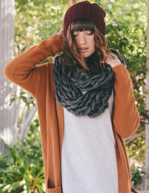 Ultra-Soft Charcoal Chunky Infinity Scarf Spocket App