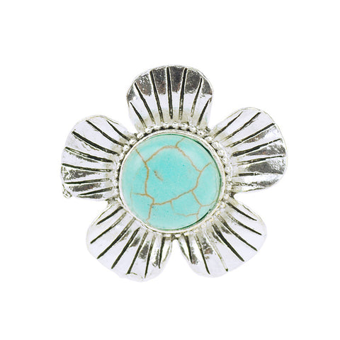 Flowers Furquoise Adjustable Ring