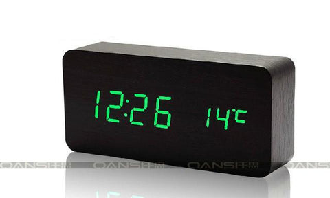 Wooden Thermometer Alarm Clock