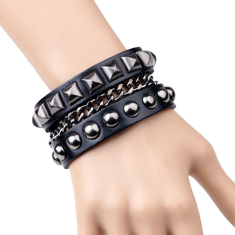 Hot selling Fashion Punk Rivet Wide Leather Bracelets Men For Women Cuff Vintage Rock Jewelry Wholesale Pulseras Hombre