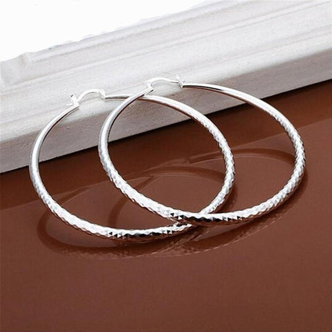 SUSENSTONE Fashion New Classic Design Solid Silver Big Hoop Earrings