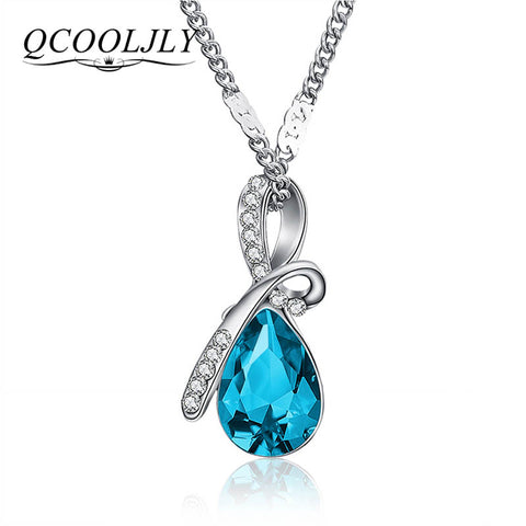925 Silver Women Pendant Necklace Fashion Blue Crystal Drop Shape Short Chain NW