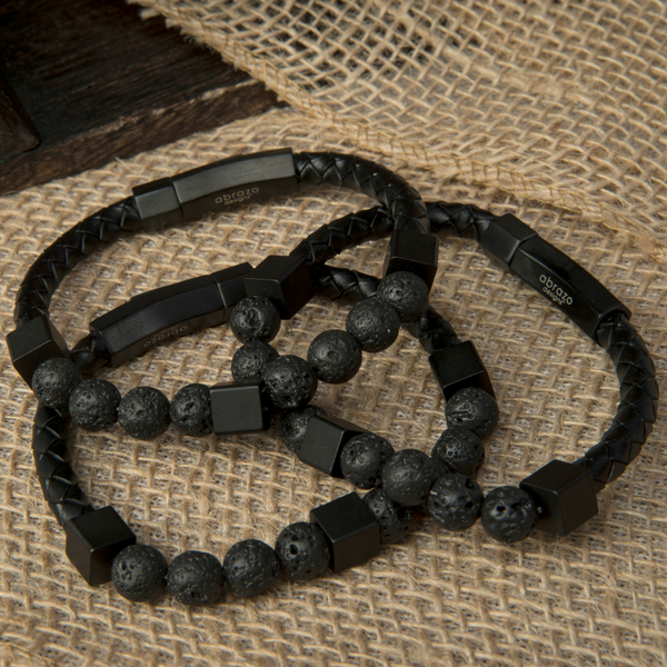 Unisex Diffuser Bracelet with Genuine Leather and Lava Beads (Large)