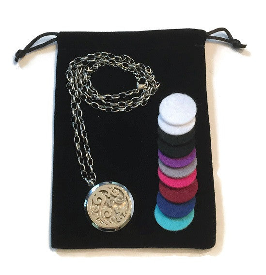 Essential Oil Diffuser Necklace w/ 316L Stainless Steel Locket (Wave)