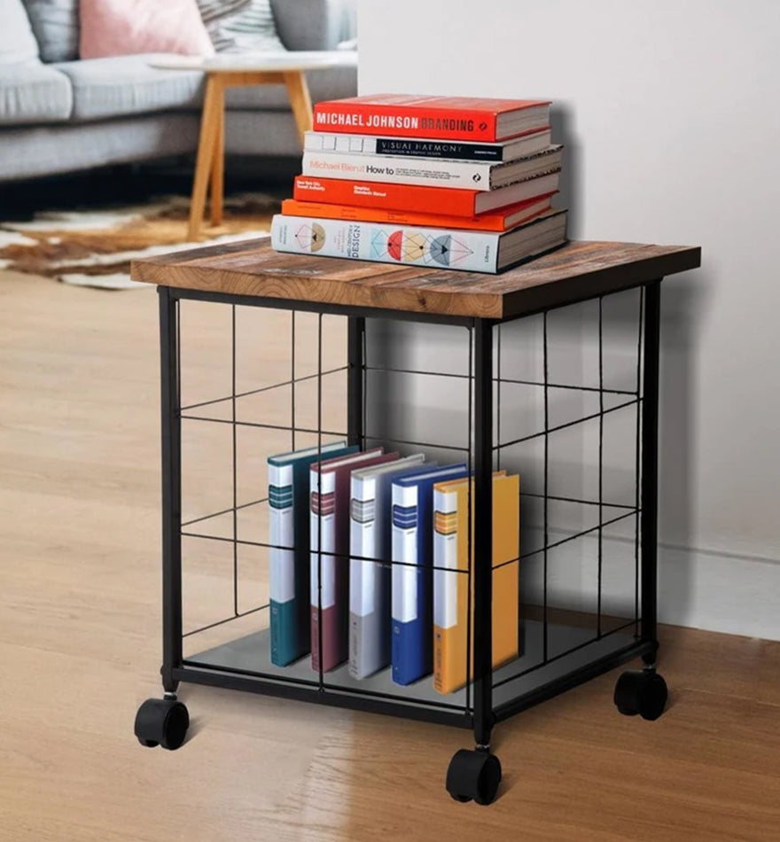 Wood and Metal File Cabinet with Grid Base and Wheels