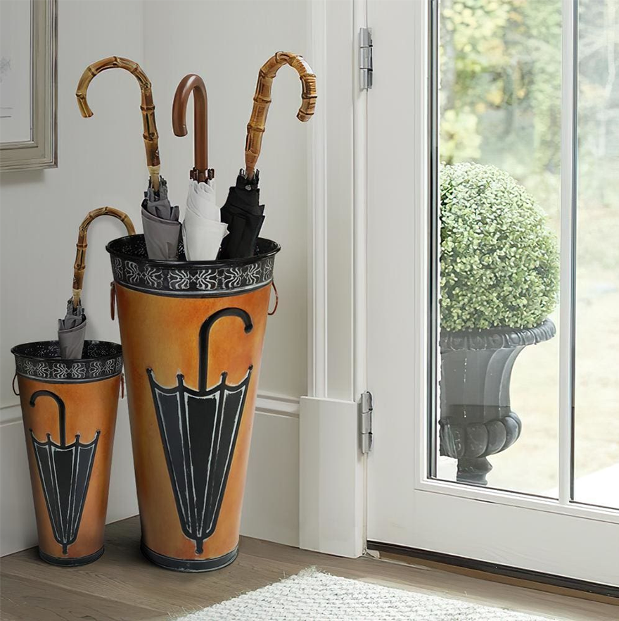 Rustic Umbrella Stand with Engraved Details