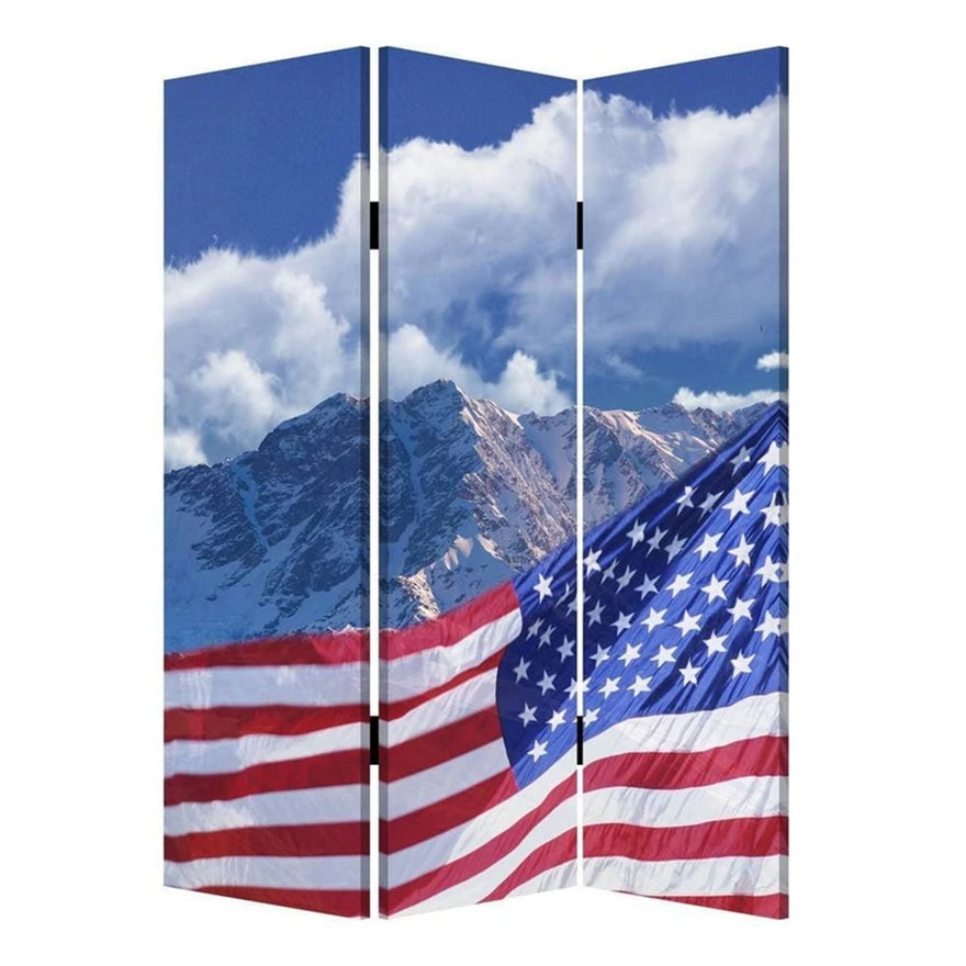 American Flag Printed Wood and Canvas 3 Panel Screen