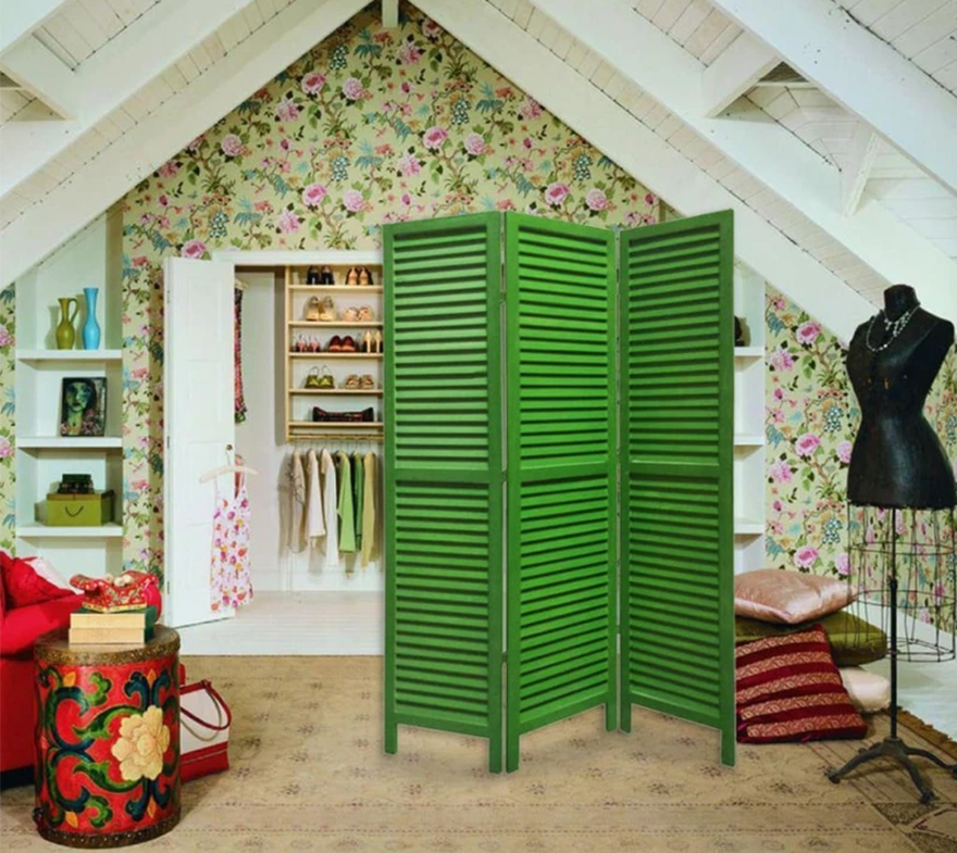 3 Panel Foldable Wooden Shutter Screen with Straight Legs