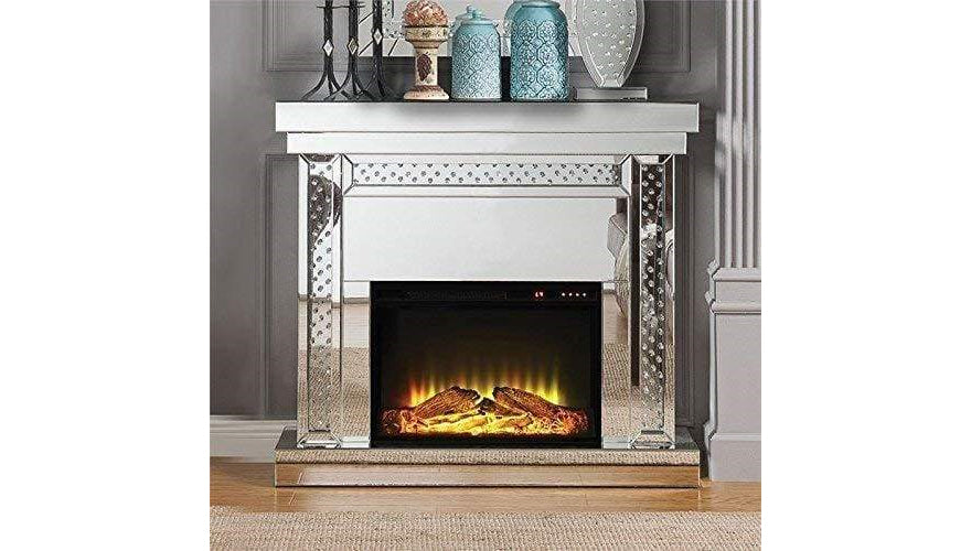 Wood and Mirror Electric Fireplace with Embedded Faux Crystals