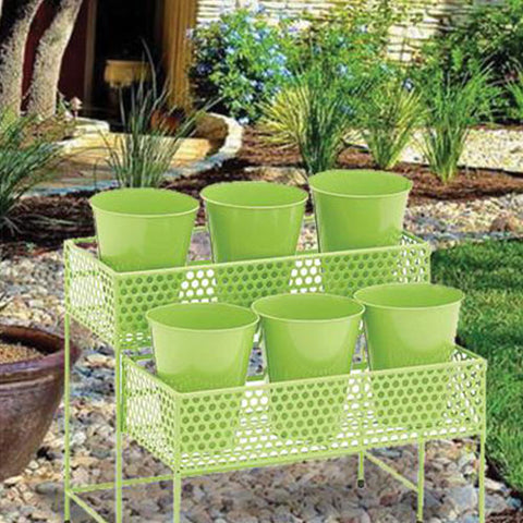 Pretty Styled Metal 2 Tier Plant Stand Green