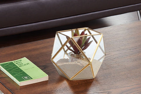 Polyhedral Brass and Glass Terrarium