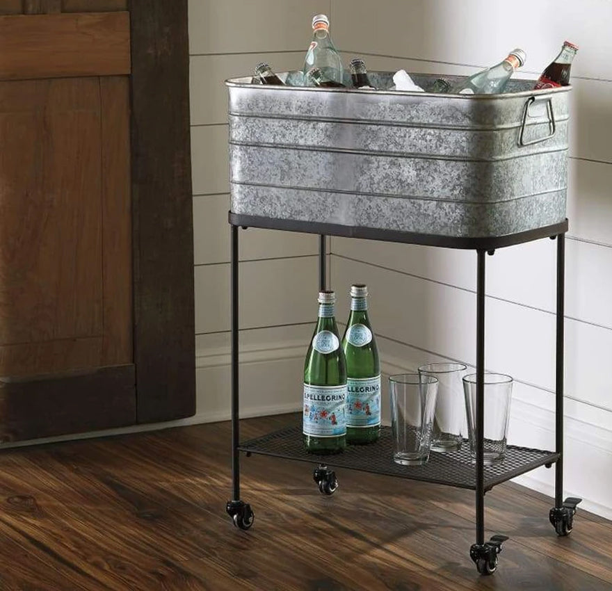 Rectangular Metal Beverage Tub with Stand and Open Grid Shelf
