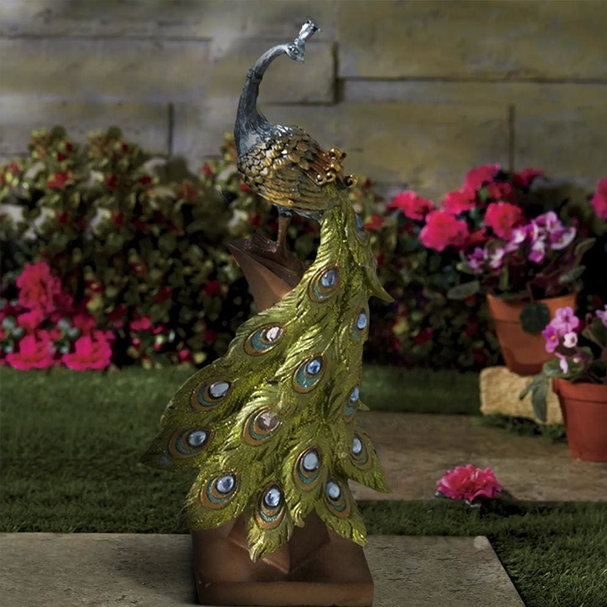 Polystone Peacock Figurine with Block Stand