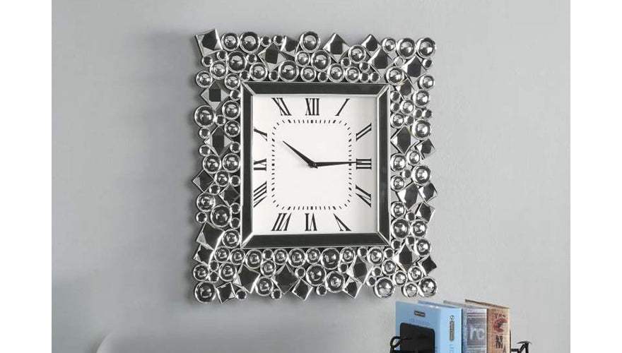 Wood and Mirror Wall Clock with Glass Crystal Gems