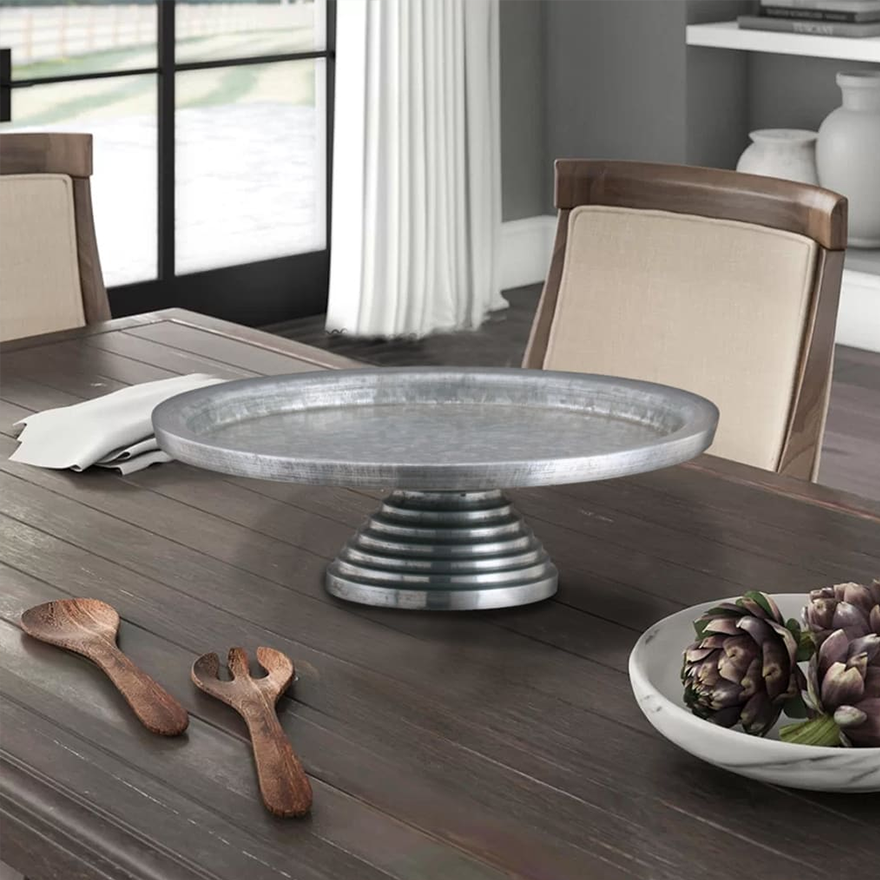 Round Galvanized Metal Cake Stand with Rippled Pedestal Base