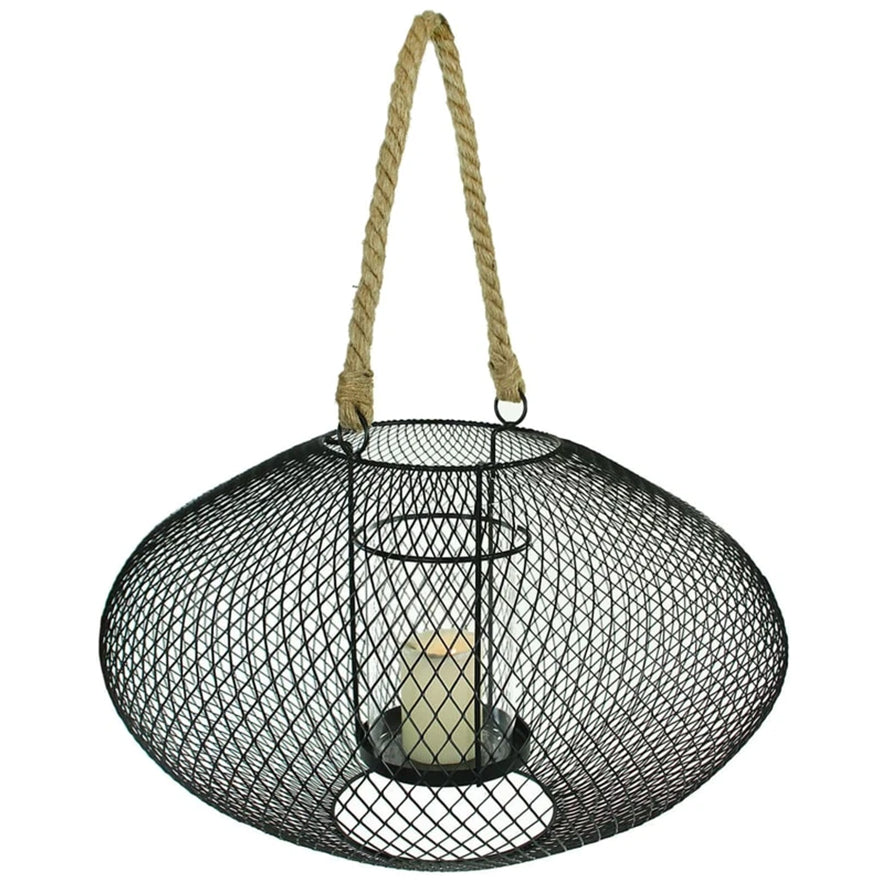 Metal and Glass Lantern With Rope Handles