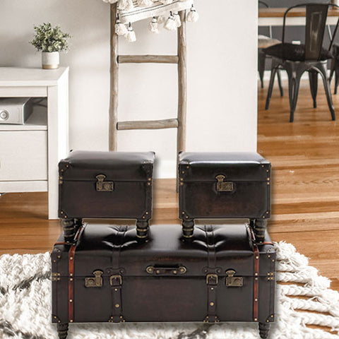 The Timeless Set Of 3 Wood Leather Trunk