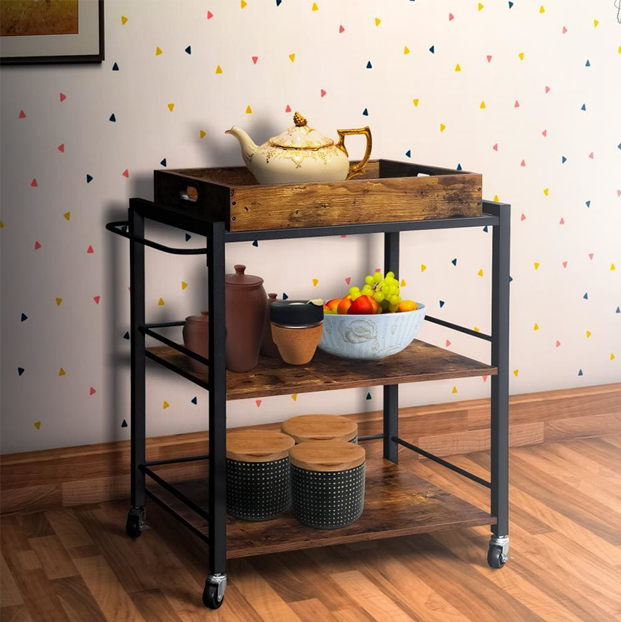Tray Top Kitchen Cart with 2 Shelves