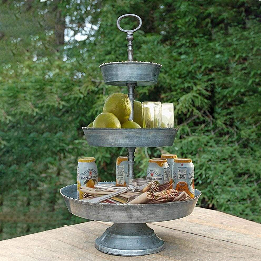 Galvanized 3 Tier Studded Tray In Metal