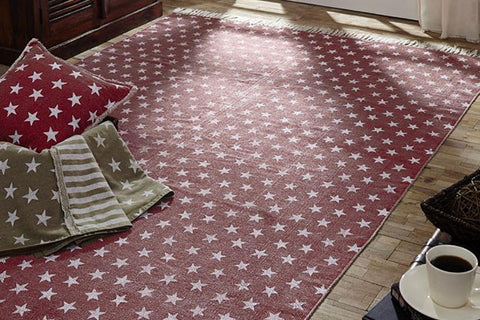 Multi Star Red Cotton Rug