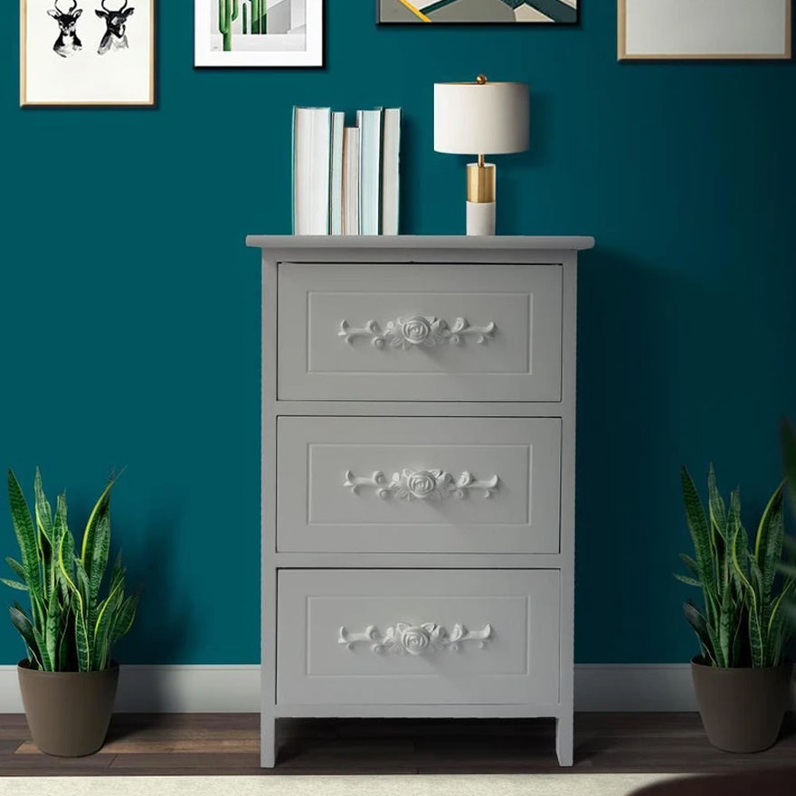 3-Drawer Wooden storage Cabinet with Engraved Floral Details