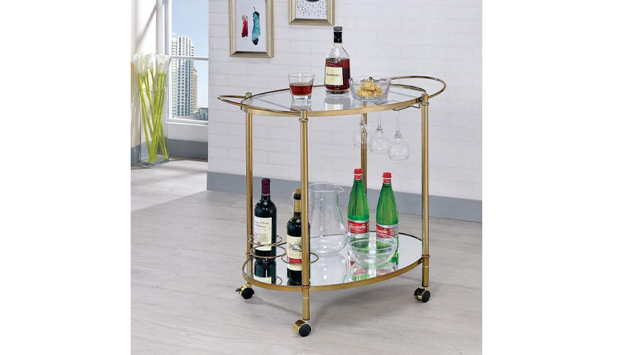 Oval Shaped Two Glass Shelves Metal Serving Cart