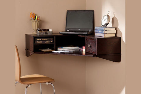 Corner wall mount desk
