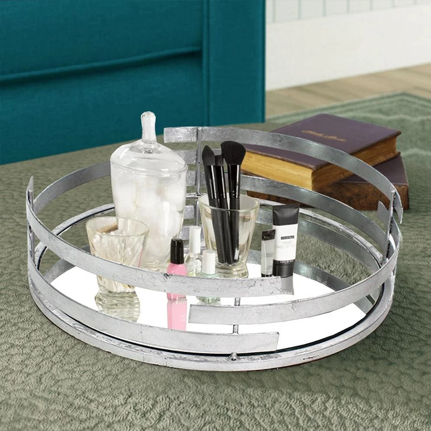 Round Metal Tray with Mirror Panel