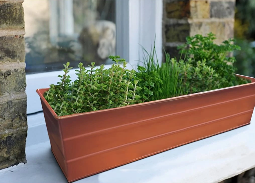 Rectangular Metal Flower Planter Box with Embossed Line Design