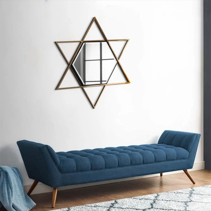 Hexagon Wall Mirror with Star Frame