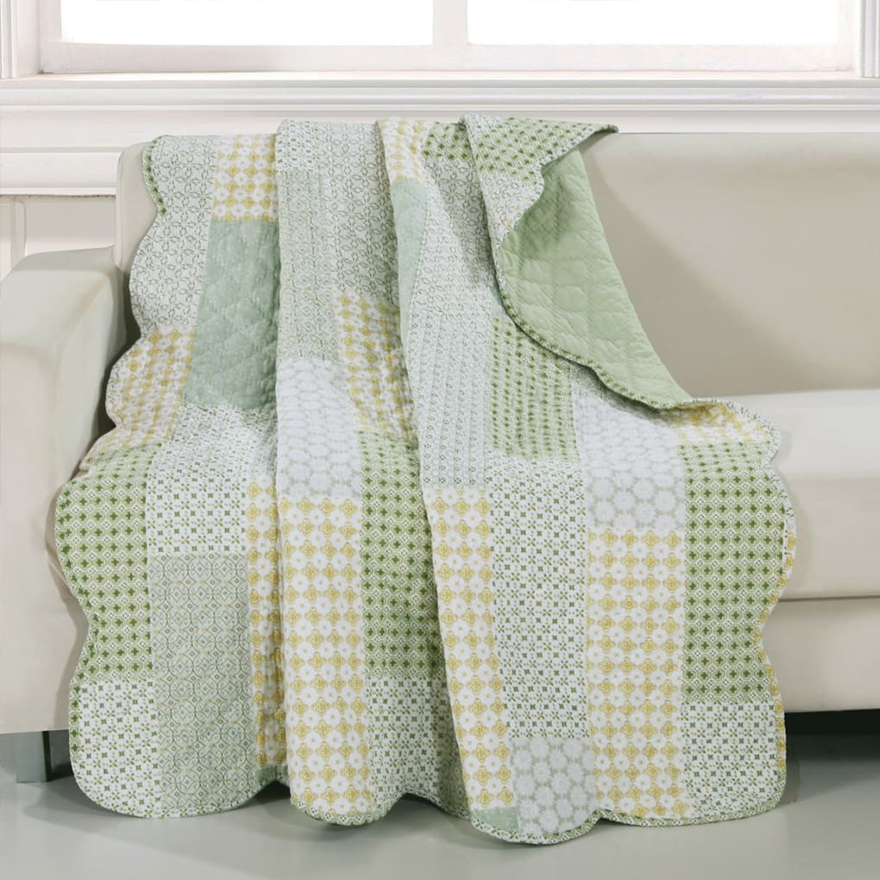 Fabric Throw Blanket with Geometric Motifs and Scalloped Border
