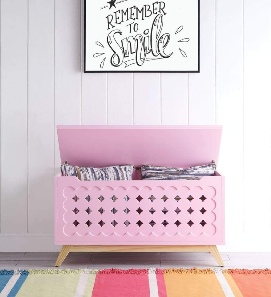 Wooden Lift Top Storage Chest with Geometric Design