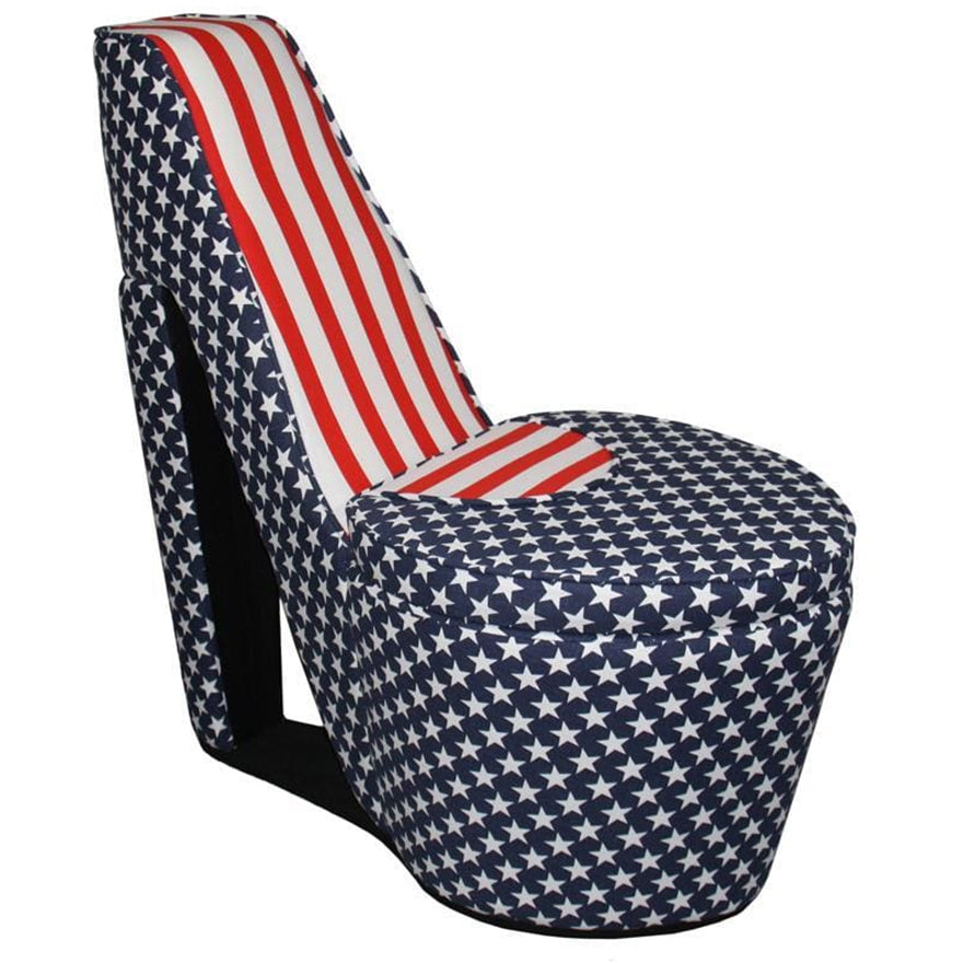 High Heel Shaped Chair with Storage and Flag Print