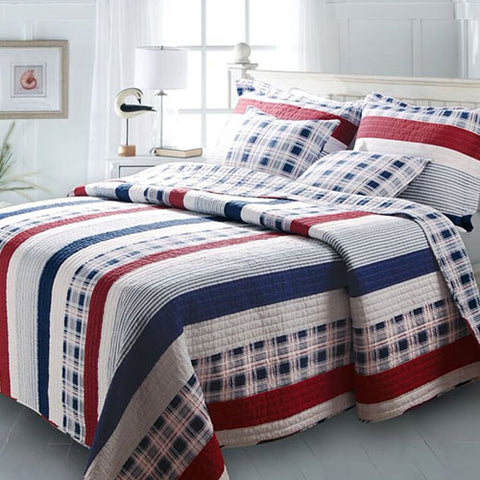 Nautical Stripes Cotton Quilt Twin Set