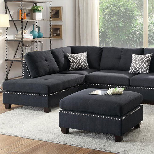 Polyfiber 3 Pieces Sectional Set With Ottoman