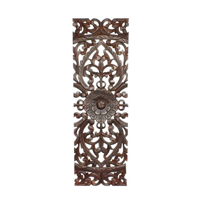 Three Piece Wooden Wall Panel Set with Traditional Scrollwork and Floral Details Brown 14255