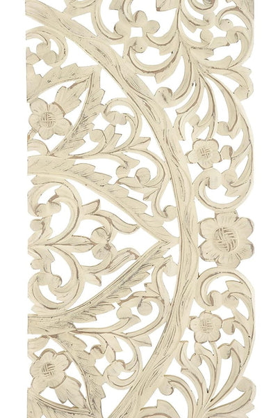 Floral Hand Carved Wooden Wall Plaque Set of three Antique White By Benzara 14318