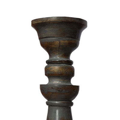 Handmade Pillar Shape Wooden Candle Holder with Flared Top Brown and Gray Set of 3 14341