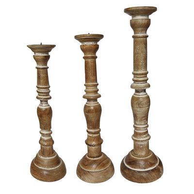 Handcrafted Distressed Wooden Candle Holder with Pedestal Body Brown Set of 3 14343