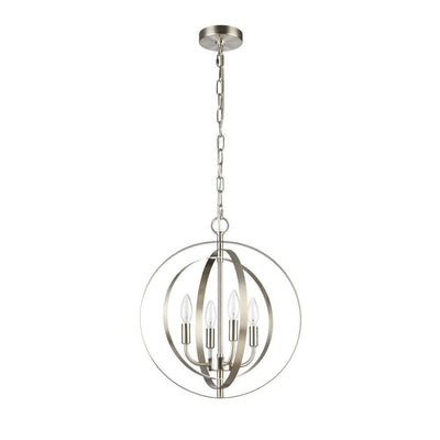 "16"" Wide Osbert Industrial- 4 Light Brushed Nickel Ceiling Pendant - CH59074BN16-UP4"