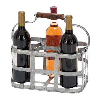 Metal Strip Wine Holder With Wooden Handle And Six Bottles Storage Gray 16175