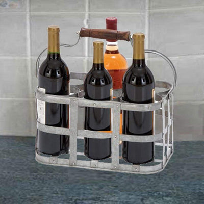 Metal Strip Wine Holder With Wooden Handle And Six Bottles Storage, Gray
