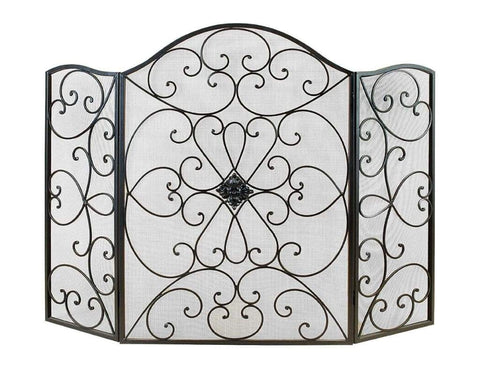 Scroll Patterned 3- Panel Metal Fire Screen With Double Bar for Fire Place , Black By Benzara