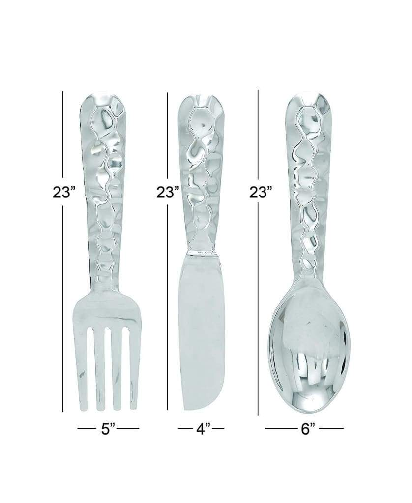 26169 Artistic Cutlery Wall Decor In Metal, Set of Three, Silver-Benzara