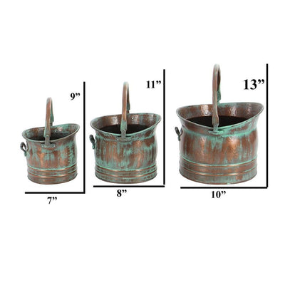 Green Tinged Metal Bucket Planter With Handles Set of 3 26909