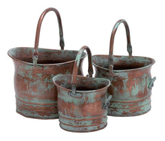 Green Tinged Metal Bucket Planter With Handles, Set of 3